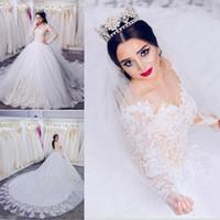 Wholesale plus size wedding dresses online - New Arabic Dubai Lace Wedding Dresses Gorgeous Long Sleeve French Lace Vestido De Novia Tiers Tulle Wedding Bridal Gowns