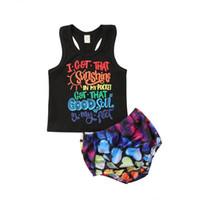jungen ärmellose t-shirts großhandel-Baby Mädchen Kind Junge Sommer Brief Sleeveless T-shirt Top T t-shirt Shorts Freizeitkleidung Set