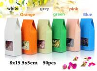 ingrosso scatole di imballaggio del tè-8x15.5x5cm 50pcs Reclose Stand Borse colorate Kraft con finestra trasparente / Colore carta kraft Confezione di tè, regali, caramelle, scatola di nozze