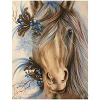 peinture des huiles de chevaux achat en gros de-Décor à la maison 5D Diy Diamant Peinture Fine Cheval Motif Animal Style Carré Plein Peintures À L'huile Fabriqué À La Main De Mode Créatif 20pc ff
