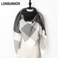 Wholesale Triangle Scarves For Women - 2017 New Fashion Winter Scarf For Women Scarf Luxury Brand Triangle Plaid Warm Cashmere Scarves Blanket Shawls 140*140*210CM