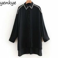 ingrosso lunghe perle faux-Donna Faux Pearl Piping Oversize Blouse Female Flowy Manica lunga Colletto rovesciato Vintage Camicia nera Camisas mujer lunghi