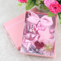 Wholesale Elegant Hair Bows - 10Pcs a Box Korean Style Children Hair Bows Pin Hairpin Gift Set With Gift Box 5Colors Cute Elegant Hair Accessories PINK Baby Girl Birthday