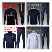 Wholesale training suit kid - KIDS PSG tracksuit 2018 2019 YOUTH Paris tracksuits 18 19 MBAPPE NEYMAR JR LUCAS HOME 2018-19 Football SOCCER KIDS kit Training suit