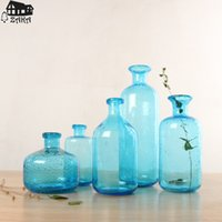 Wholesale Blow Table - 1Pcs New KEYAMA Nordic marine style blue bubble glass vases Hand-blown flower vases bedroom table vase Simple Home Decoration