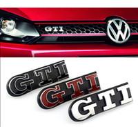 vw çıkartmalar rozetleri toptan satış-Styling Metal GTI Logo Ön Izgara Amblem Badge Decal Sticker için VW Volkswagen Golf 4 6 7 MK6 MK7 MK4 MK5 Polo CC Passat