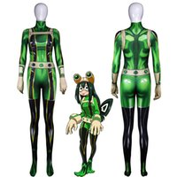 Wholesale zentai hero cosplay online - Anime D Women My Hero Academia Boku no Hero Academia Asui Tsuyu Cosplay Costume Zentai Bodysuit Suit Jumpsuits