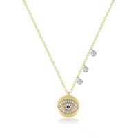 Discount pendant eye brass - Gold plated lucky evil eye charm necklace cz drop elegance fashion jewelry women elegance fashion pendant necklaces