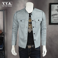 Wholesale synthetic breasts - Wholesale-Brand Faux Suede Leather Motor Jackets For Men Stand Collar Button Fly Casual Mens Jackets Slim Fit Coat Fashion Homme Chaqueta