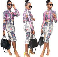 ingrosso abiti tradizionali gonne-2018 Dashiki Traditional African Clothing Due pezzi Set Africaine stampa vestito aderente + gonna vestiti africani