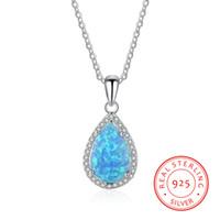 gota de água de ópalo venda por atacado-Colar consideravelmente azul da prata esterlina da forma 925 das mulheres da gota da água do opala de fogo com corrente