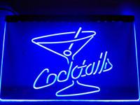 винные барные знаки оптовых-LB522- Cocktails Rum Wine Lounge Bar Pub LED Neon Light Sign