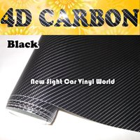 coche de vinilo de fibra de carbono al por mayor-Película superior de la fibra de carbono del abrigo del vinilo de la fibra de carbono del negro 4D para el tamaño 1.52x30M / rollo de la burbuja de aire de la película del abrigo del coche