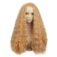 lolita wig hitzebeständig großhandel-HotNew Gothic Lolita Perücke Natürlich aussehende hitzebeständige Kunstfaser Harajuku Lange Blonde Lockige Cosplay Perücken