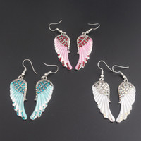 Wholesale biker jewelry silver - Angel wings dangle earrings antique gold silver color W crystal women girls biker bling jewelry gift wholesale 170890