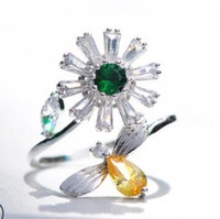 открытие цветов оптовых-designer jewelry rings fror women Bee flowers open rings cute simple hot fashionj free of shipping