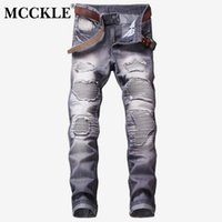 pantalones metrosexuales al por mayor-MCCKLE Metrosexual Straight Destruido Jeans Hombres Slim Fit Casual Ripped Jeans Homme Retro Hombres Denim Trousers Motorcycle Pants