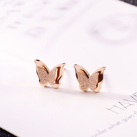 Lovely Women Double Butterefly Stud Earrings Rose Gold Plated Stainless Steel Best Gifts For Girl Friend Birthday Anniversary