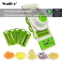 râpes de légumes achat en gros de-Walfos Mandoline Peeler Râpe Légumes Cutter Outils Avec 5 Lame Carotte Râpe Oignon Légumes Trancheur Cuisine Accessoires
