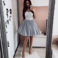 Wholesale strapless cocktail dresses for sale - Cheap Strapless A Line Short Dresses Tulle Sexy Custom Made Prom Dresses Prom Cocktail Gowns Evening Dresses