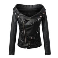 новый женский pu кожа тонкий оптовых-Женщин новый плоский плеча slim fit с длинным рукавом короткие пальто PU кожаная куртка