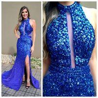 ingrosso vestito da promenade del diamante del gioiello-Blue Diamond Crystal Mermaid Prom Dresses gioiello collo strass in rilievo Zipper formale vestito da partito Sexy Side Split Abito da sera Abiti formali
