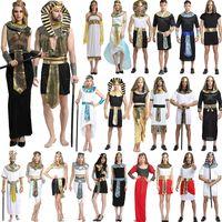 traje do dia das bruxas egípcios venda por atacado-Trajes de Halloween Menino Menina Antigo Egito Faraó Egípcio Cleópatra Príncipe Princesa Traje Crianças Crianças Roupas de Festa Cosplay GGA1260