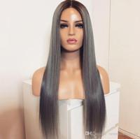 ingrosso capelli grigi dritti-Vendita calda radici scure ombre grigio colore lungo rettilineo parrucche sintetiche anteriori del merletto per le donne nere glueless parrucche dei capelli fibra resistente al calore