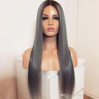 pelucas grises para mujeres negras al por mayor-Venta caliente Dark Roots Ombre Grey Color Largo Recto Sintético Pelucas delanteras del cordón para las mujeres negras Pelucas de cabello resistentes al calor sin cola