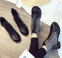 1fe6bf6ad1d2 2017Winter New Women s Casual Ankle Boots Leather Rivet Add Cotton Warm  Student Snow Boots Korean Style Thick Heel Shoes
