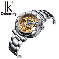 Wholesale Women Watches Colour - Relogio Feminino Ladies Automatic Skeleton Watches Women Gold Tone Mechanical Watches Famous Top Brand IK Colouring Watches