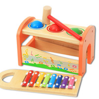 Wholesale tapping toys for sale - Group buy Wooden Musical Toys Pound Tap Bench Slide Out Xylophone with Hammer and Balls