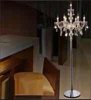 candeeiro e14 venda por atacado-Moda moderna de cristal lâmpada de assoalho luzes da sala de estar quarto lâmpadas de cristal francês moderno stand luzes de cristal abajur cristal