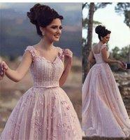 ingrosso rosa abiti da sera rosa-Blush Pink A-line Abiti da sera Sweetheart 3D Fiori Bordare Abiti da spettacolo Prom Dress Elie Saab Plus Size Abito da sera formale