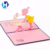 Wholesale Carving Candles - Happy girl 3D pop up Birthday cake candles greeting card laser cutting envelope postcard hollow carved handmade kirigami gifts