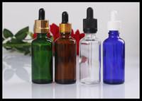 ingrosso bottiglie di dropper verde di olio essenziale verde-Flaconi di vetro trasparente blu ambrato da 30ml per olio essenziale di canapa Olio di protezione antimanomissione per capelli
