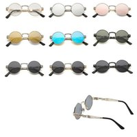 Wholesale Wholesale Steampunk Glasses - Spring Steampunk Round Sunglasses Metal Spring Frame Mirror Lens Glasses Reflective Glasses UV400 Sunglasses 10pcs OOA4678