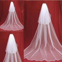 Wholesale Gift Satin Ribbon - Cute Two Layer Long Bridal Veil Cathedral Satin Edge Long Bridal Veils With Comb Woman Marry Gifts 2018 New Accessories
