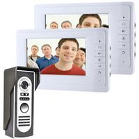 cámara de video sin cables al por mayor-Envío gratis 7 '' con cable videoportero de color puerta sistema de video portero timbre 1 CMOS Versión Nocturna Cámara + 2 monitores 819M12