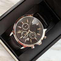 Wholesale sports clocks for sale - Group buy TOP Fashion watch Luxury Steel Quartz Man watch Sports Leather stop watch Chronograph Wristwatches Life Waterproof male date clock Hot Items
