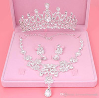 Wholesale Cheap Tiara Sets - 2018 Cheap Bling Bling Set Crowns Necklace Earrings Alloy Crystal Sequined Bridal Jewelry Accessories Wedding Tiaras Headpieces Hair