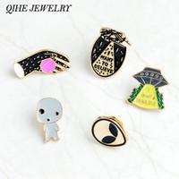 ingrosso gioielli degli alieni-QIHE JEWELRY Spille e spille Voglio credere allo scudo di un alieno smaltato pin distintivo Ufo pin Alien pin pinback button zaino gioielli