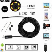 Wholesale mini camera tube - 1M 2 IN 1 Android PC 7MM Lens Endoscope Tube Waterproof Snake Borescope USB Inspection Mini Camera With 6 LED For Android PC