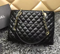Wholesale Patent Shop - Black Lambskin Patent Leather GST Bag sheepskin Grand Shopping Tote Bag Plaid Bag With Gold Hardware