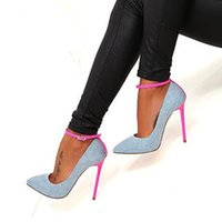 Wholesale sexy photo shoes online - Denim Blue High heeles Shoes Sexy Pointed toe Ankle Strap Jeans Woman Pumps Newest Pink Stiletto Heel Dress Shoes Real Photo Free Ship