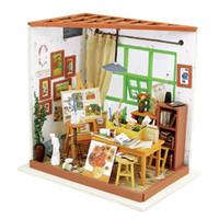 estudios kit al por mayor-Robud DIY miniatura Ada's Studio Doll House Kits de edificio modelo Dollhouse Learning Educación Juguetes Hobbies para niños DG103