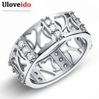 Wholesale off punk - 15% Off Punk Crystal Anel Feminino Men Rings for Women Silver White Cubic Zirconia Jewelry Ring Female Sale Bijoux Uloveido J606