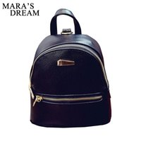 Wholesale Dream School - Wholesale- Mara's Dream 2017 New Women's Backpacks Brand Design Fashion Black High Quality Leather Backpack Travel For School Bags