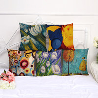 linen flower cushion case 2018 - 45cm*45cm Plants Pillow Cases Flowers Pillow Cover Cotton Linen Square Pillowcase Living Room Sofa Decorative Cushion Cover Case
