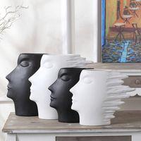 decoração moderna vaso branco venda por atacado-Vaso Rosto abstrato Modern Art Wind Man Escultura Em Cerâmica Cabeça Humana Estátua Moda Casa Decoração Artesanato Preto Branco